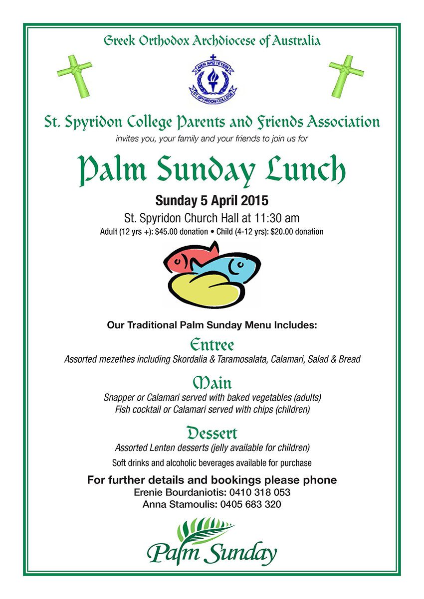 Palm Sunday Lunch 2015