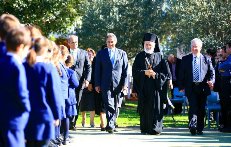 Students, teachers, staff, parents and friends of St Spyridon College celebrate the Foundation Blessing for the Sports and Performing Arts Centre
